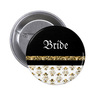 White black gold damask wedding 6 cm round badge