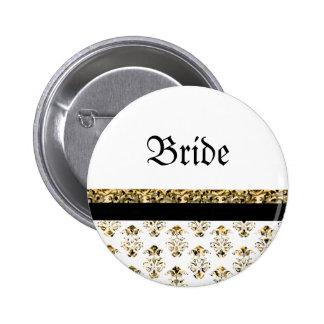 White black gold damask wedding 6 cm round badge