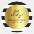 White,Black, Gold Striped Sticker - Personalised