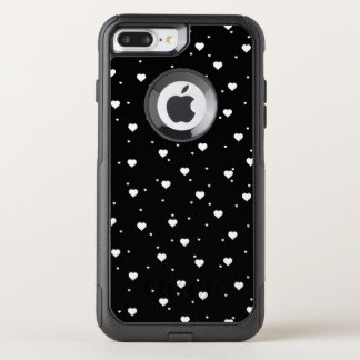 White & Black Hearts Seamless Pattern OtterBox Commuter iPhone 8 Plus/7 Plus Case