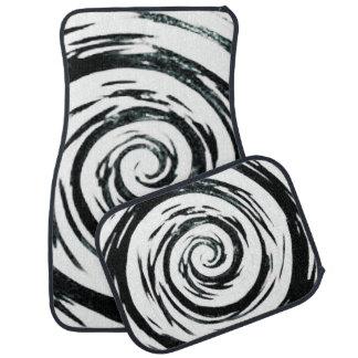 White & Black Hypnotic Swirl Art Floor Mat