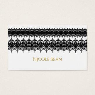 White & Black Lace Look Elegant Wedding Business Card