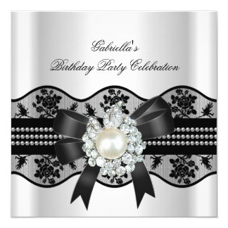 White Black Lace Pearl Elegant Birthday Party 13 Cm X 13 Cm Square Invitation Card