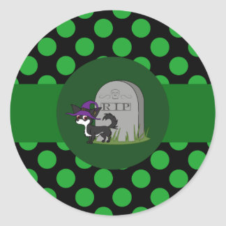 White & Black Long Hair Chihuahua with Grave Stone Round Sticker