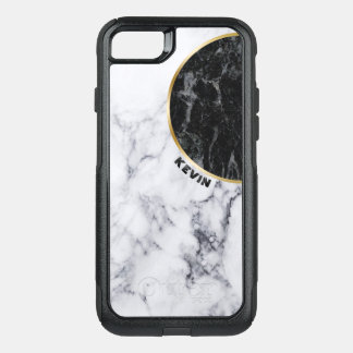 White & Black Marble Geometric Design OtterBox Commuter iPhone 8/7 Case