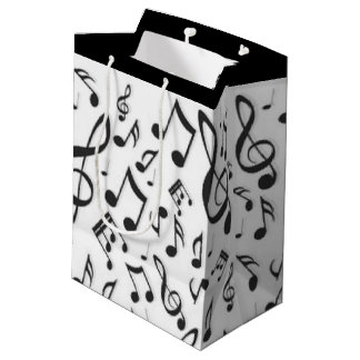 White Black Music Notes Pattern Print Design Medium Gift Bag