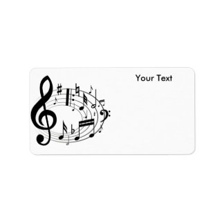 White & Black Music Scale Music Notes Label