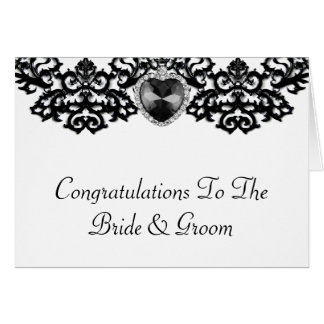 White & Black Ornate Heart Pendant Wedding Card