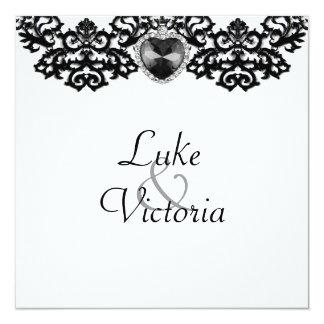 "White & Black Ornate Heart Pendant Wedding 5.25"" Square Invitation Card"