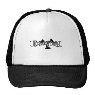 White, Black Outline Mesh Hats
