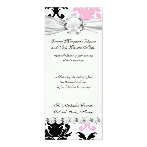 white black pink lovely bold damask 10 cm x 24 cm invitation card