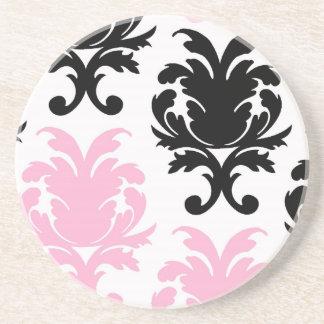 white black pink lovely bold damask coaster