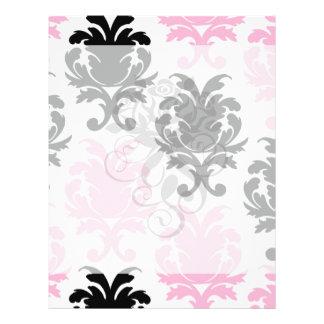 white black pink lovely bold damask custom flyer