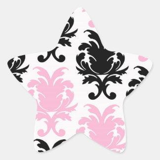 white black pink lovely bold damask star stickers