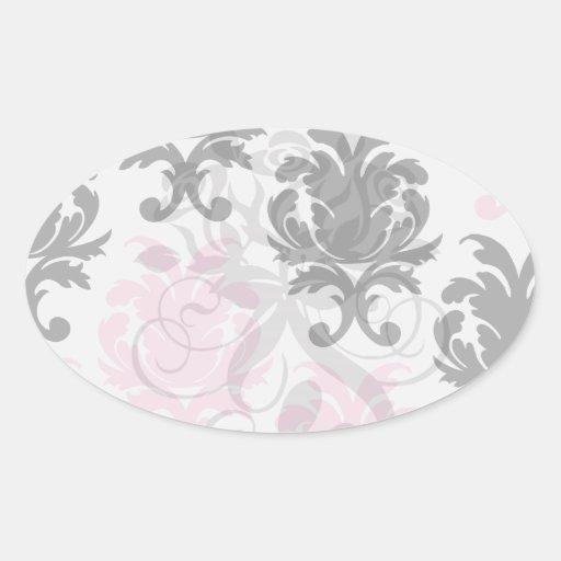 white black pink lovely bold damask sticker