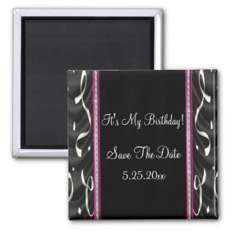 White Black Pink Party Streamers Save Date Square Magnet