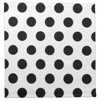 White Black Polka Dots - Set of 4 Cloth Napkins