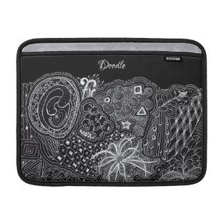White/Black Random Doodle Art Fun Unique Sleeve For MacBook Air