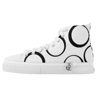 white/black retro circle Custom Zipz High Top Shoe