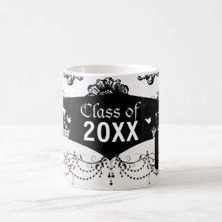 white black rose romance damask graduation mugs