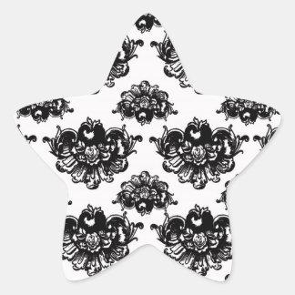 white black rose romance damask star sticker