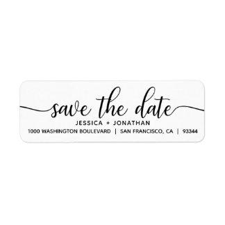 White Black SAVE THE DATE Wedding Return Address