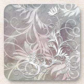 White Black Shaded Floral Corkback Coaster Sets