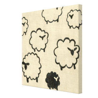 White & Black Sheep on Cream Background Canvas Print