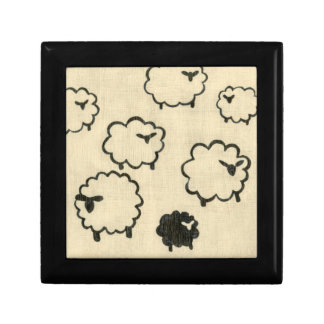 White & Black Sheep on Cream Background Gift Box