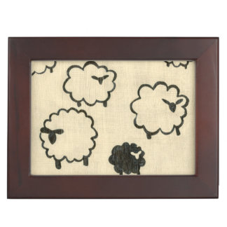 White & Black Sheep on Cream Background Keepsake Box