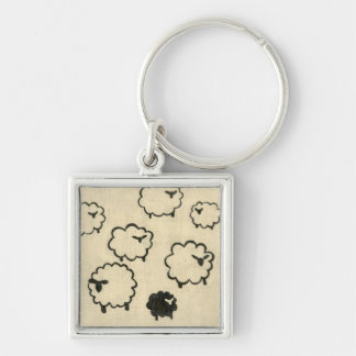 White & Black Sheep on Cream Background Key Ring