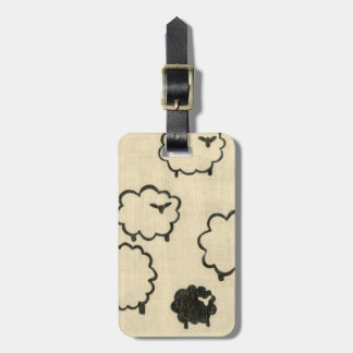 White & Black Sheep on Cream Background Luggage Tag
