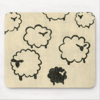 White & Black Sheep on Cream Background Mouse Mat