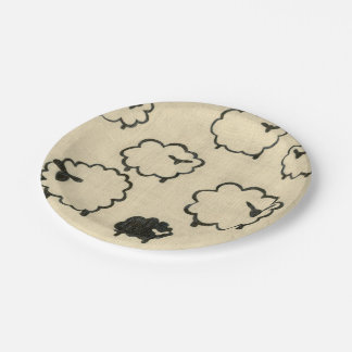 White & Black Sheep on Cream Background Paper Plate