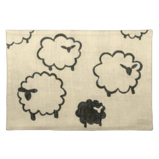 White & Black Sheep on Cream Background Placemat