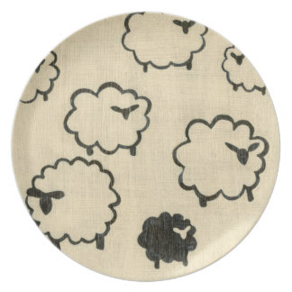 White & Black Sheep on Cream Background Plate