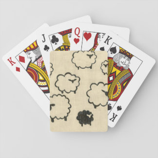 White & Black Sheep on Cream Background Playing Cards