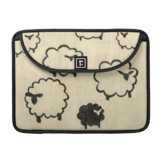 White & Black Sheep on Cream Background Sleeve For MacBooks