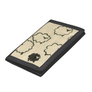 White & Black Sheep on Cream Background Tri-fold Wallets
