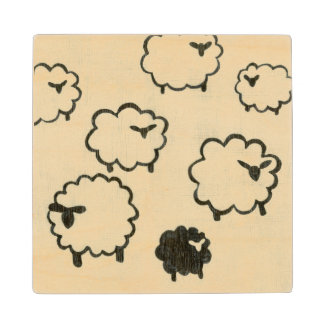 White & Black Sheep on Cream Background Wood Coaster