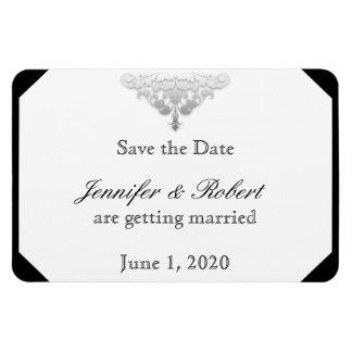 White Black Silver Damask Wedding Save the Date Rectangular Photo Magnet