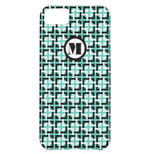 White-Black Squares and Aqua Barely There Case iPhone 5C Cases