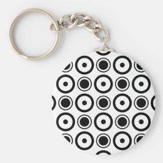 White Black stylish polka dots white background Basic Round Button Key Ring