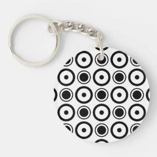 White Black stylish polka dots white background Double-Sided Round Acrylic Key Ring