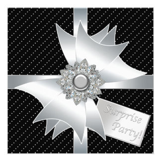 White Black Surprise Birthday Party Personalised Invitation