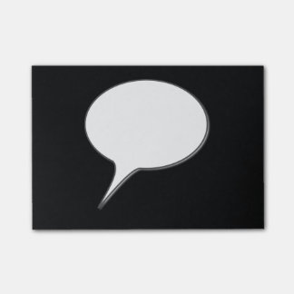 White & Black Talk Bubble Personalized Name Post-it® Notes