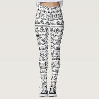 white&black tribal aztec pattern leggings
