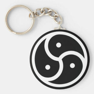 white black triskellion key ring