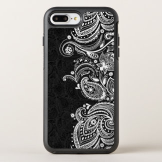 White & Black Vintage Paisley Lace OtterBox Symmetry iPhone 7 Plus Case