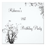 White Black Wispy Floral 21st Birthday Party Personalised Invitations